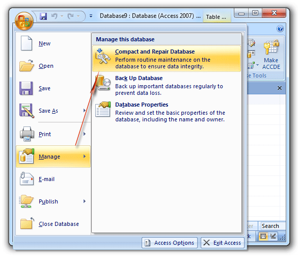 Compact and Repair Database in Access 2007