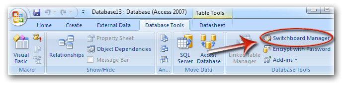 Switchboard Manager In Access 2007 Ribbon