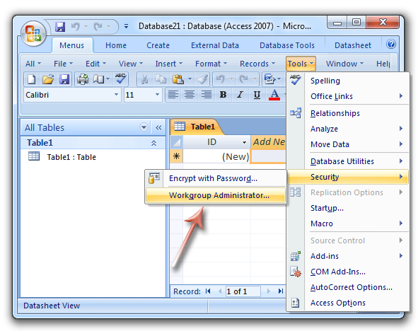 Where is Workgroup Manager in Microsoft Access 2007, 2010