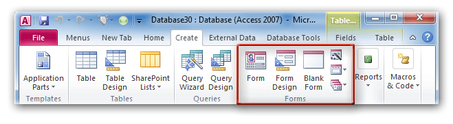 Where is Form in Microsoft Access 2007, 2010, 2013, 2016