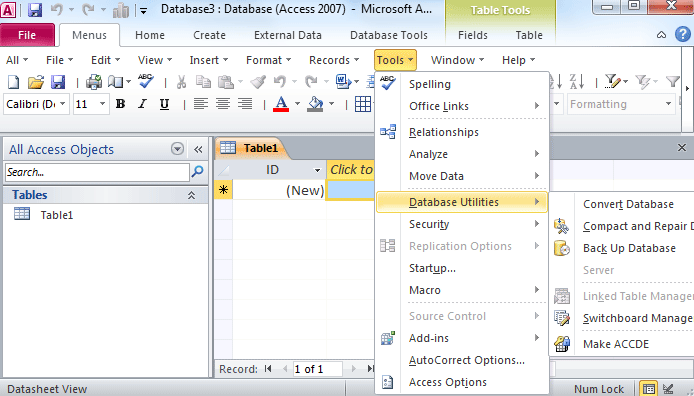table tools in excel 2010