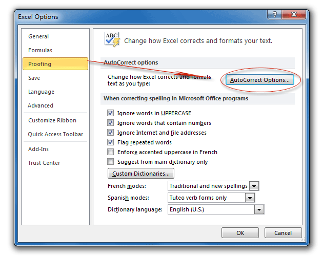 Where is AutoCorrect in Microsoft Excel 2007, 2010, 2013, 2016, 2019