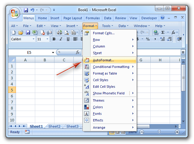 Where is AutoFormat in Microsoft Excel 2007, 2010, 2013