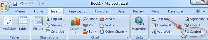 Where is the Check Mark Symbol in Excel 2007, 2010, 2013