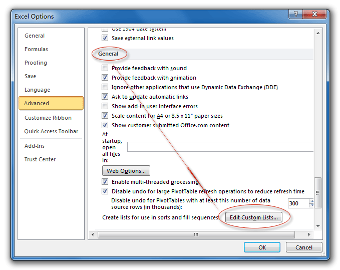 Where is Custom List in Microsoft Excel 2010, 2013, 2016