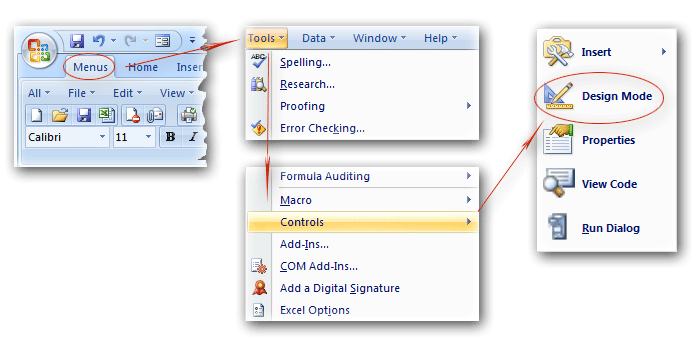 Toolbar drawing pada ms excel 2007 how to construct a for Office 2010 design mode