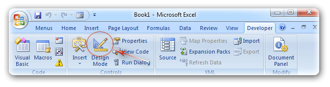 Where is the Design Mode in Excel 2007, 2010, 2013, 2016