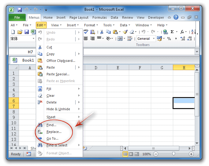 Where are Edit find, replace, and go to in Excel 2007, 2010, 2013 ...