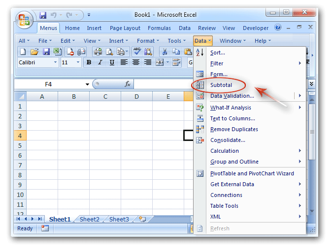 Where is the Subtotal Button in Excel 2007, 2010, 2013, 2016