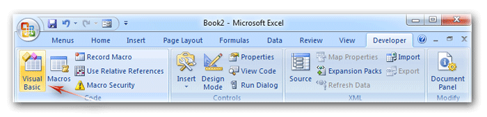 Where is Visual Basic Editor in Excel 2007, 2010, 2013 and 2016
