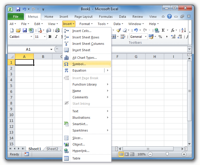Where Is Insert Menu In Microsoft Excel 2007 2010 2013