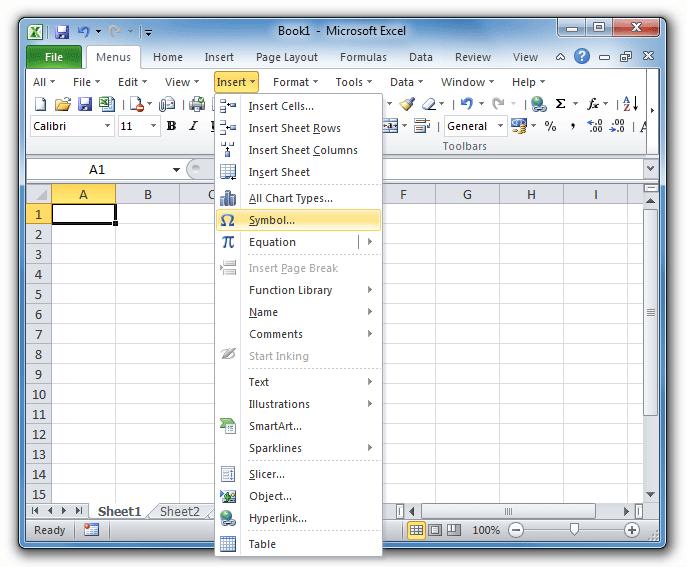 Where Is Insert Menu In Microsoft Excel 2007, 2010, 2013