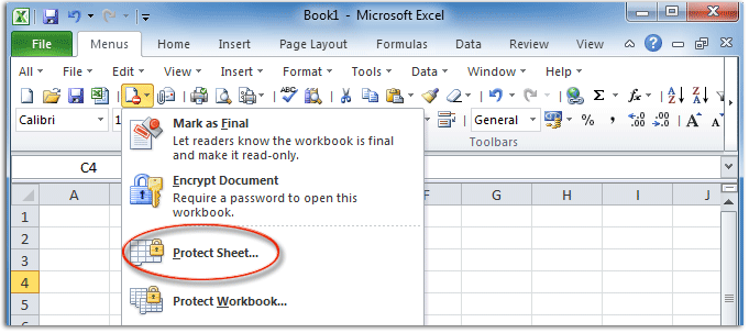 Where is Protect Sheet Command in Excel 2007, 2010, 2013 ...