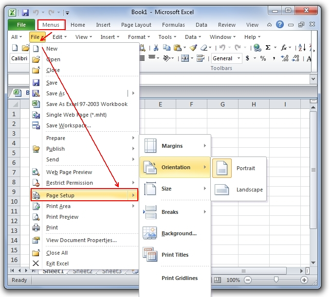Where is the Page Setup in Microsoft Excel 2007, 2010, 2013