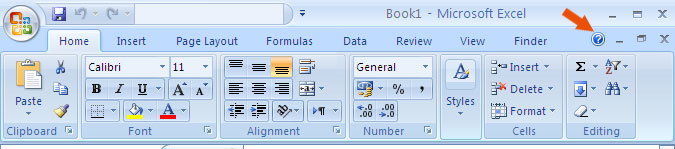 where is help button in microsoft excel 2007 2010 2013 and 2016
