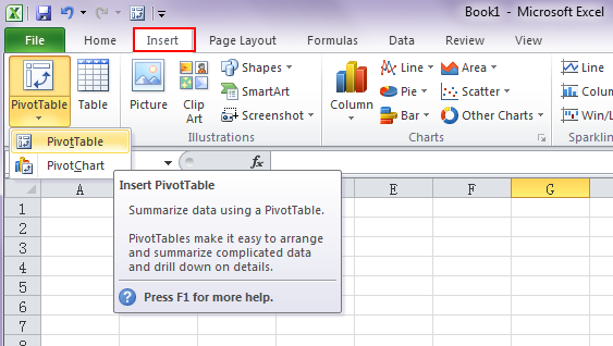 where are pivot table and pivotchart wizard in excel 2007 2010