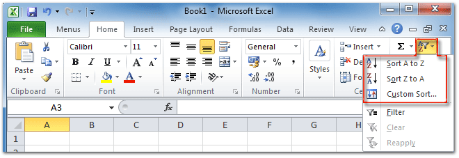 sorting in excel