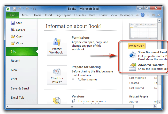 Where is Document Properties in Microsoft Excel 2007, 2010