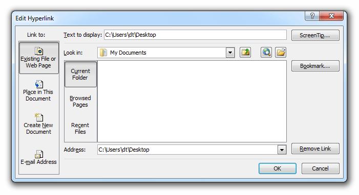 Edit links dialog box excel 2007
