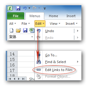 Where are Edit Links and Break Links in Microsoft Excel 2007
