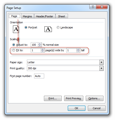 how to print excel sheet on one page 2003