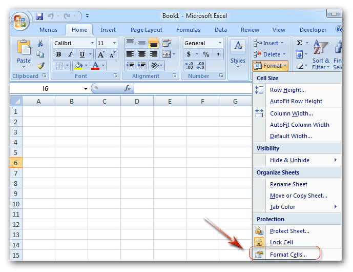Where is Format Cells in Microsoft Excel 2007, 2010, 2013