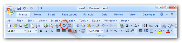 Spell Check button in classic toolbar