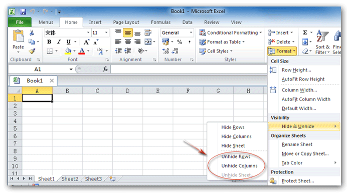Where is the Unhide command in Microsoft Excel 2007 2010 2013 – Unhide Worksheet Excel 2010