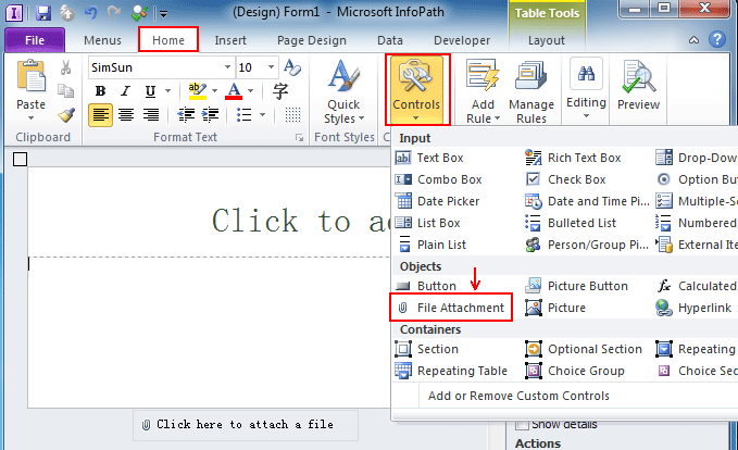 Where is Attach File Control in InfoPath 2010, 2013 and 2016