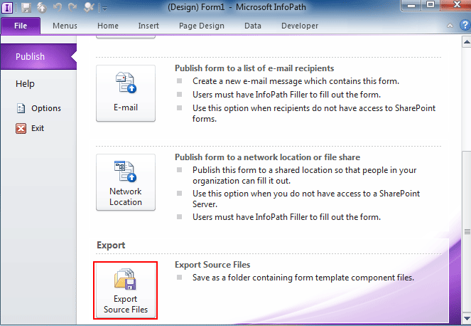 where is the source file saved in infopath 2010 2013 and 2016
