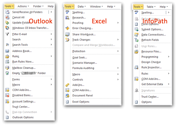 Where is the Tools menu in Office 2007, 2010, 2013 and 365