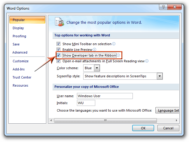 Where is Form Toolbar in Microsoft Office 2007, 2010, 2013