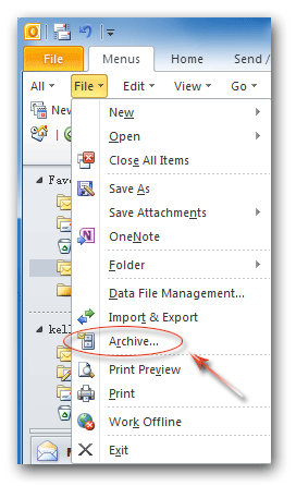 Where is Archive in Microsoft Office 2007, 2010, 2013 and 365