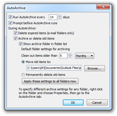 Where is AutoArchive in Microsoft Office 2010, 2013 and 365