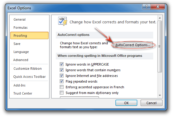 AutoCorrect Options button in Excel Options