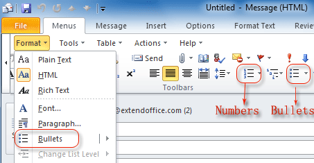 Where Are Bullets And Numbers In Office 2007 2010 2013