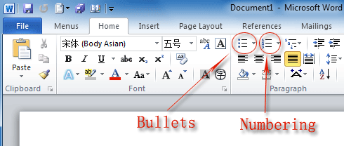 Where are bullets and numbers in office 2007 2010 2013 and 365 figure 2bullets and numbers in word 2010s ribbon ccuart Image collections