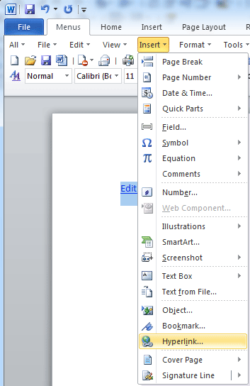 how to put a hyperlink in word