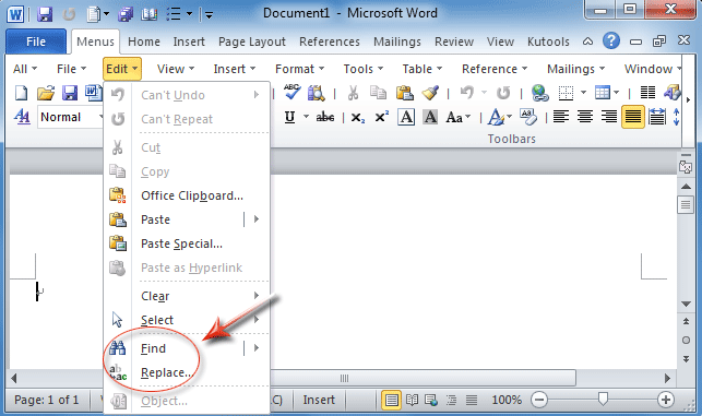 Edit Template Word010 Figure 1 Find Item And Replace Item In Word 2010 39 S Edit Menu