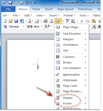 word 2007 how to put page number and running head