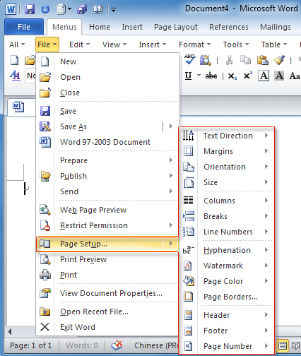 Figure 2 Page Setup In Word 2010s File Menu
