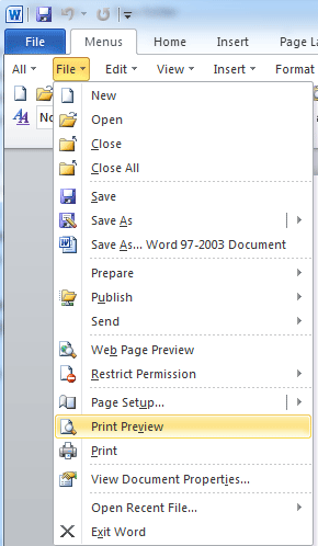 where is print preview in office 2007, 2010, 2013 and 365