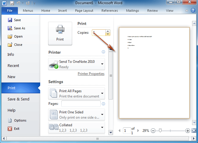 shortcut key for print preview in ms word 2010