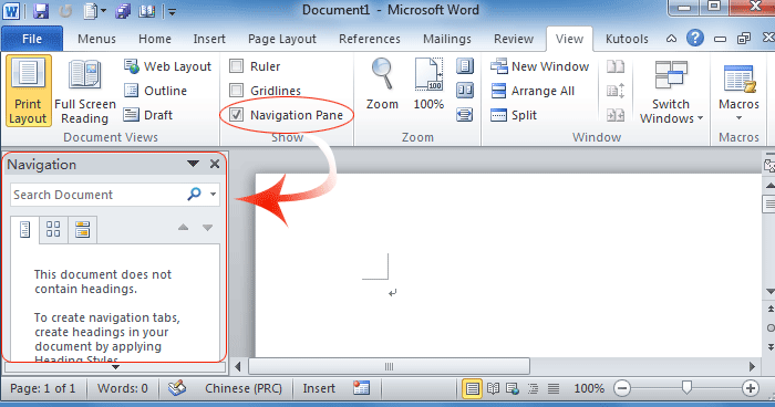 where is document map in microsoft office 2007 2010 2013 and 365