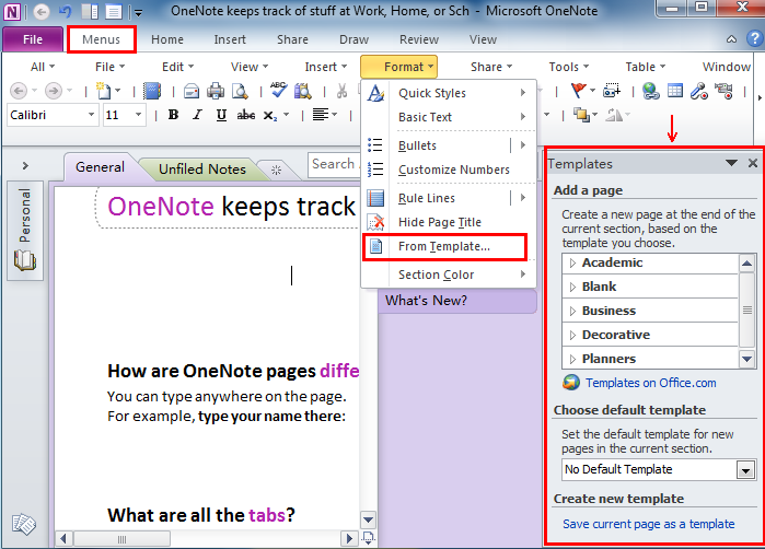 Where is Templates in Microsoft OneNote 2010, 2013, 2016, 2019 and 365