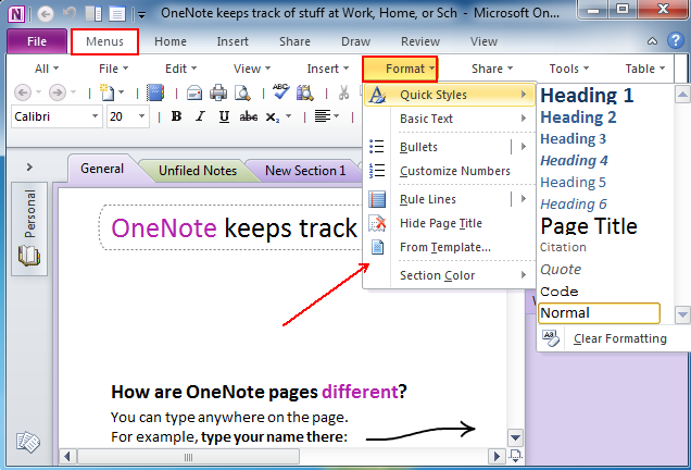 One Note Templates | Where Is Format In Microsoft Onenote 2010 2013 And 2016