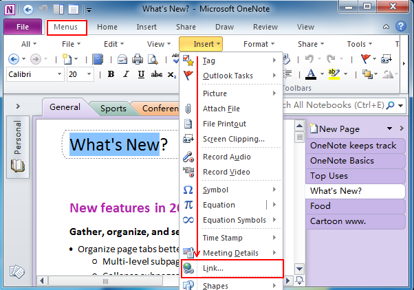 Where is Create Linked Page in OneNote 2010, 2013, 2016, 2019 and 365