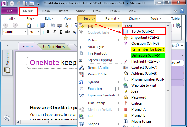 where is to do list in microsoft onenote 2010 2013 and 2016