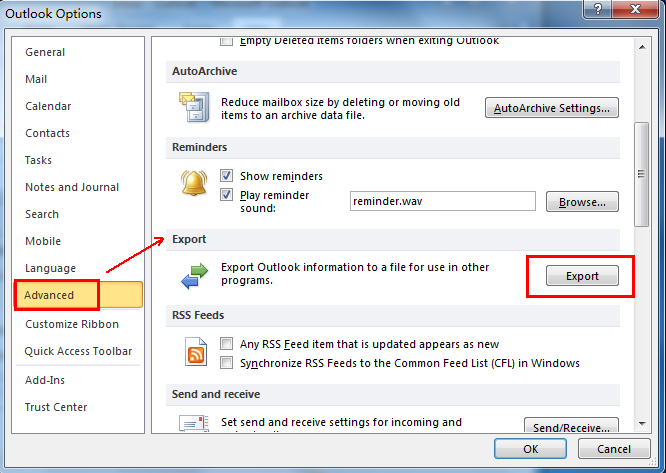 Where is Export in Microsoft Outlook 2010, 2013, 2016, 2019