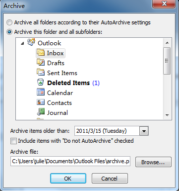 outlook 2013 archive